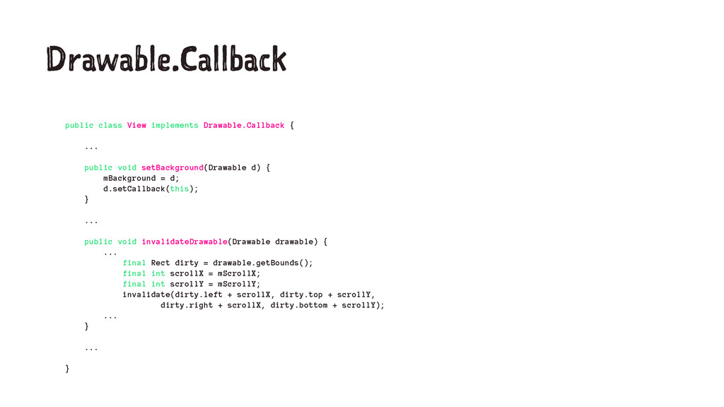 Drawable.Callback public class View implements ...