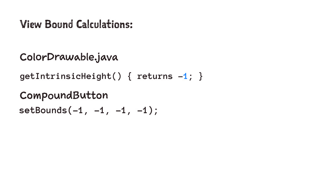 View Bound Calculations: ColorDrawable.java get...