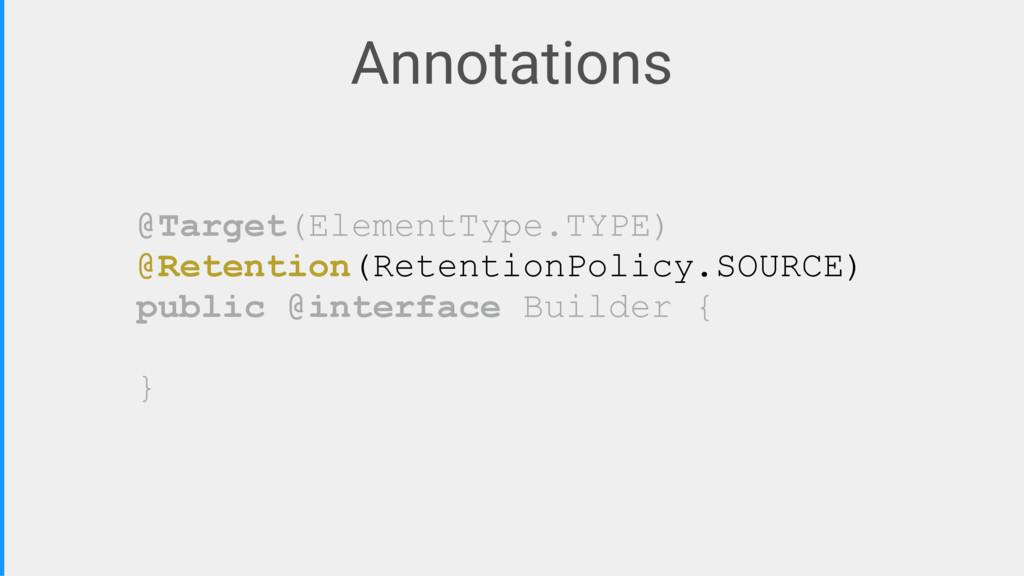 Annotations @Target(ElementType.TYPE) @Retentio...