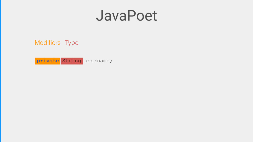 JavaPoet Modifiers Type private String username;