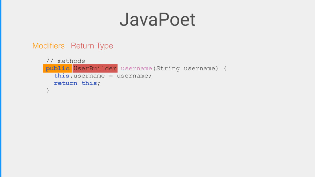 JavaPoet Modifiers Return Type // methods public...