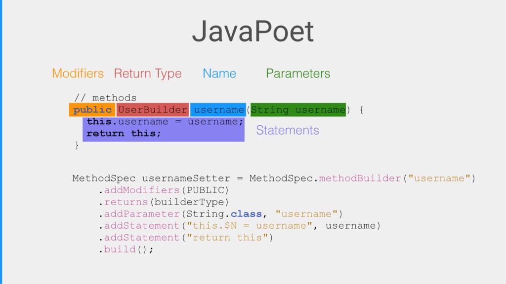JavaPoet MethodSpec usernameSetter = MethodSpec...