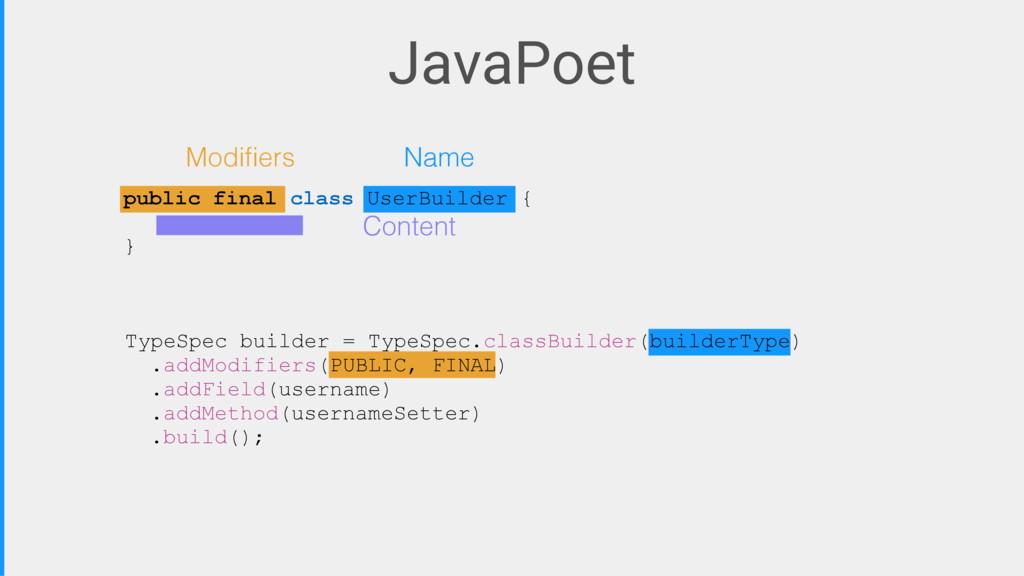 JavaPoet Modifiers Name Content TypeSpec builder...