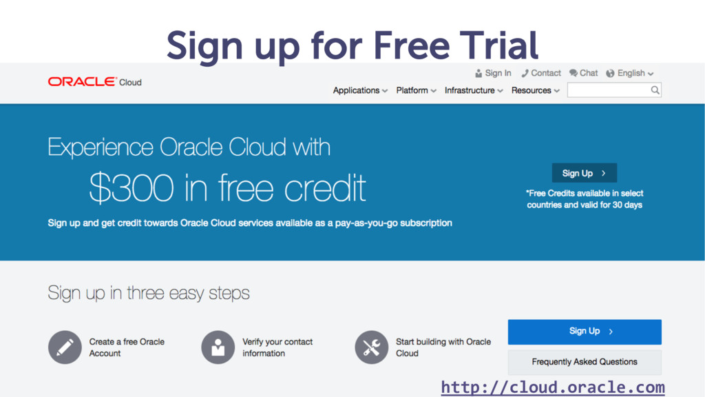 Sign up for Free Trial http://cloud.oracle.com