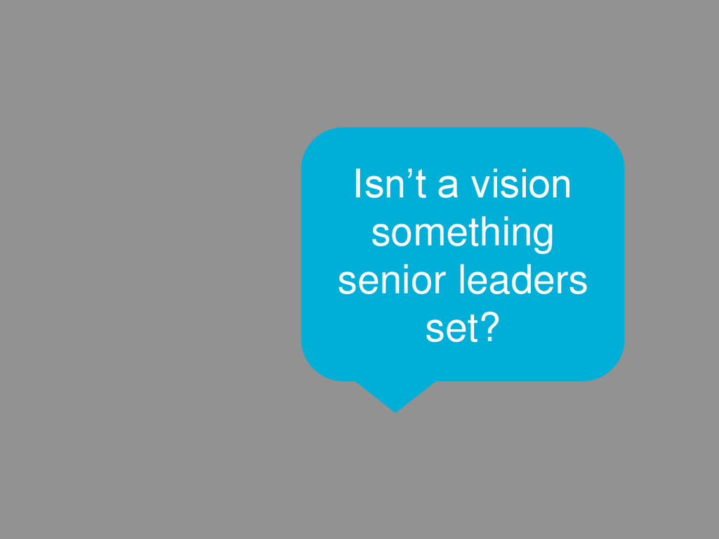 21 Isn't a vision something senior leaders set?