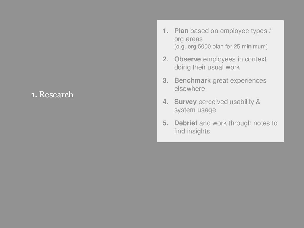 36 1. Research 1. Plan based on employee types ...