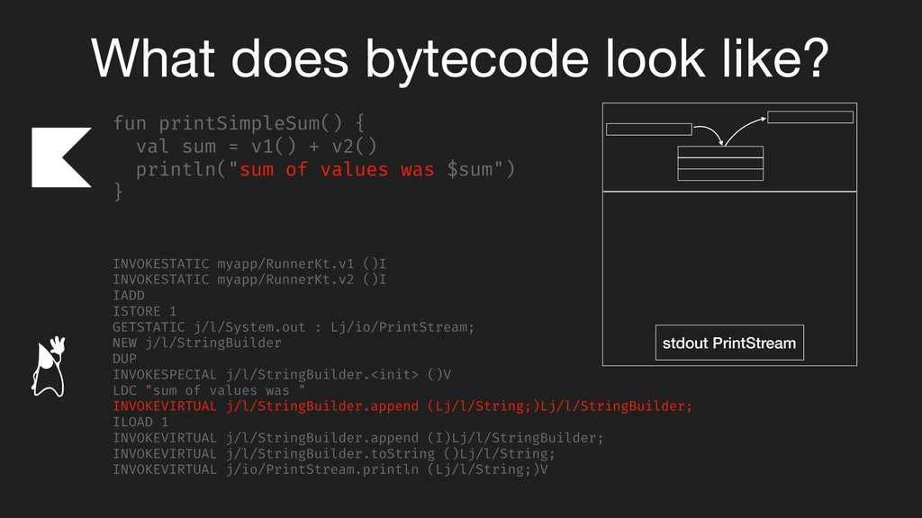 What does bytecode look like? fun printSimpleSu...