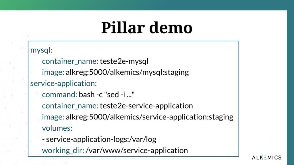 Pillar demo mysql: container_name: teste2e-mysq...
