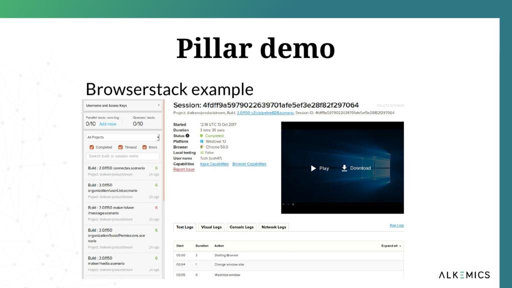 Pillar demo Browserstack example