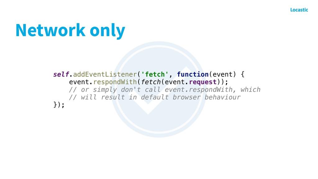 Network only self.addEventListener('fetch', fun...
