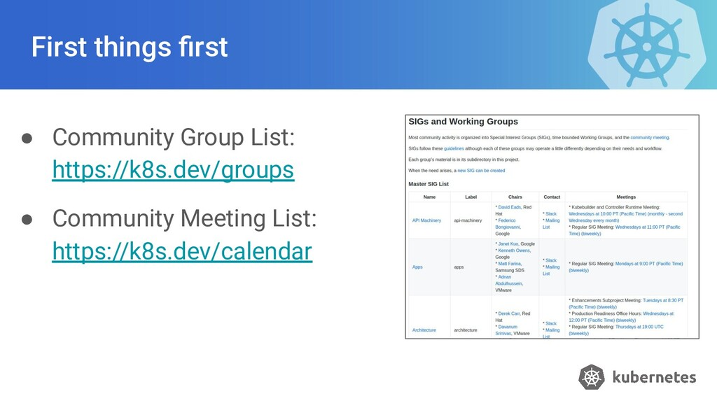 First things first ● Community Group List: https...
