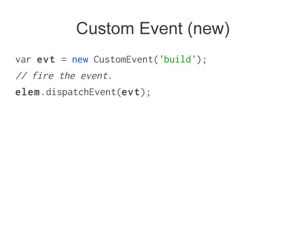 Custom Event (new) var evt = new CustomEvent('b...