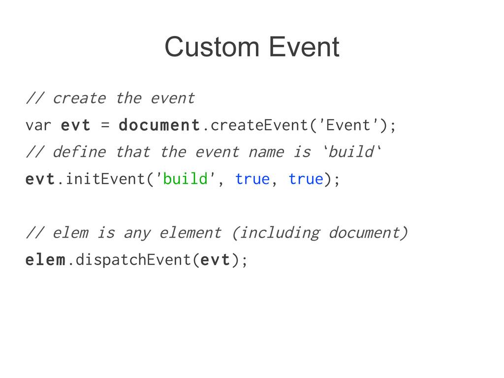 Custom Event // create the event var evt = docu...