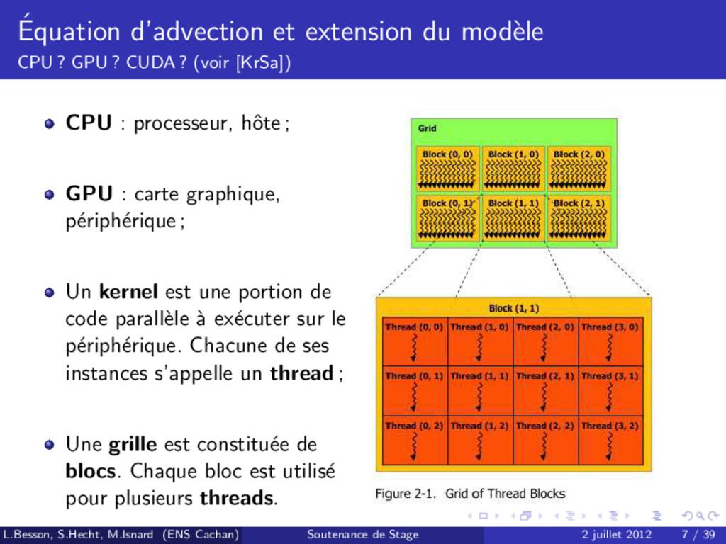 ´ Equation d'advection et extension du mod` ele...