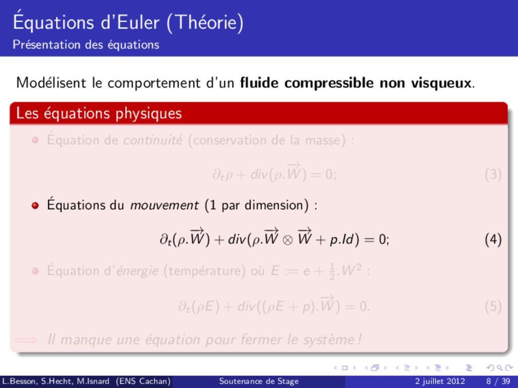 ´ Equations d'Euler (Th´ eorie) Pr´ esentation ...
