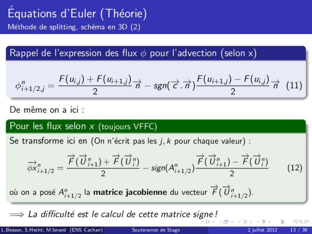 ´ Equations d'Euler (Th´ eorie) M´ ethode de sp...