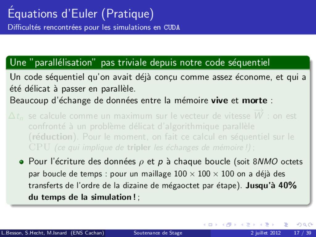 ´ Equations d'Euler (Pratique) Difficult´ es renc...