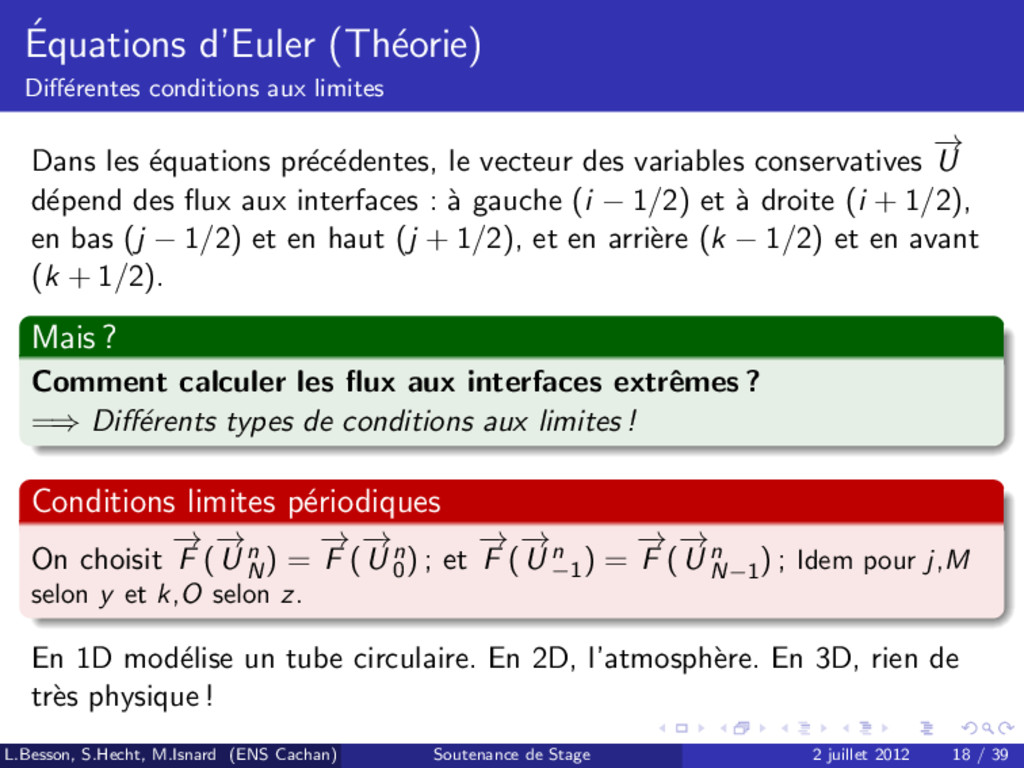 ´ Equations d'Euler (Th´ eorie) Diff´ erentes co...