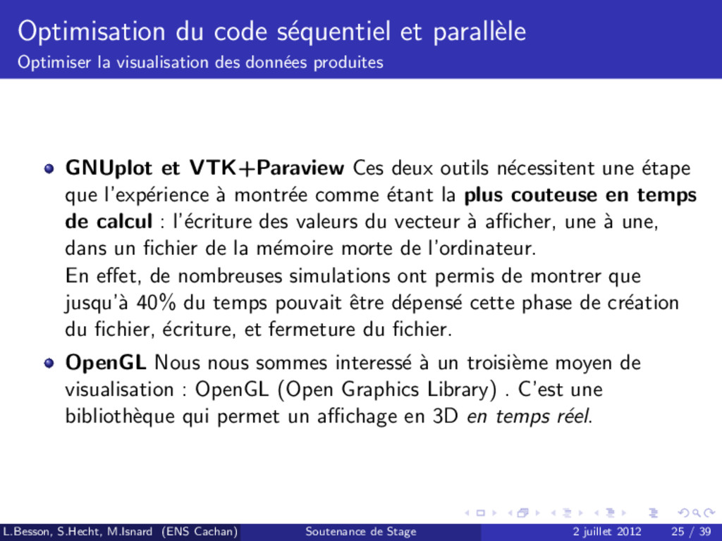 Optimisation du code s´ equentiel et parall` el...