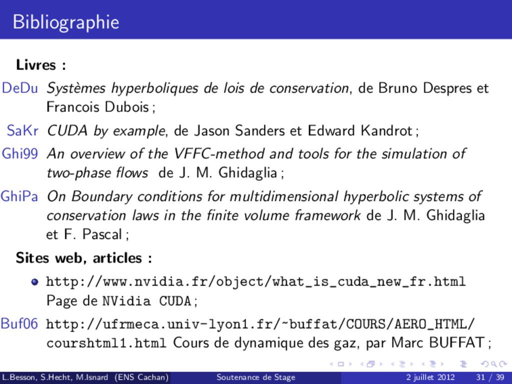 Bibliographie Livres : DeDu Syst` emes hyperbol...