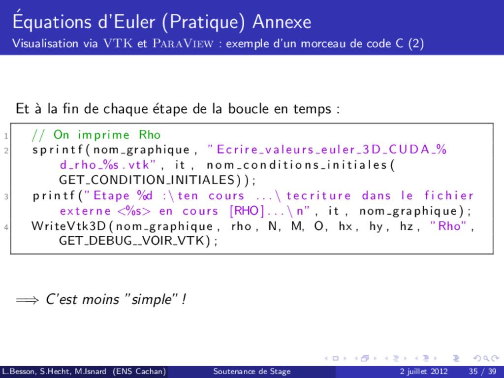 ´ Equations d'Euler (Pratique) Annexe Visualisa...