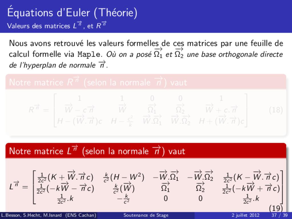 ´ Equations d'Euler (Th´ eorie) Valeurs des mat...