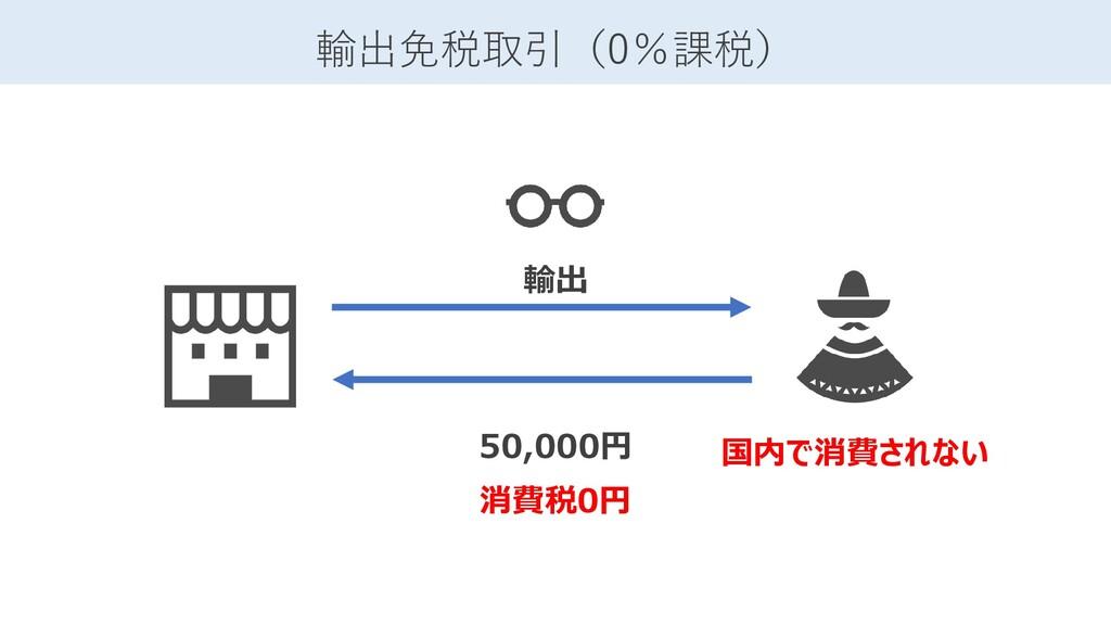 50,000円 消費税0円 輸出免税取引(0%課税) 国内で消費されない 輸出
