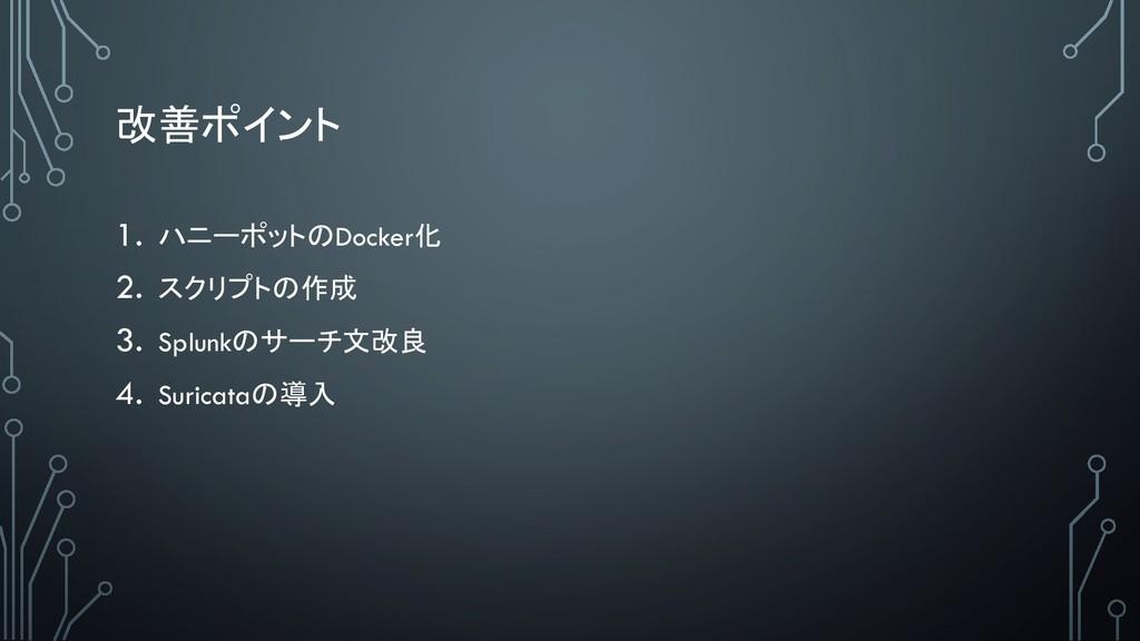 1.  Docker 2.   3. Splunk ...