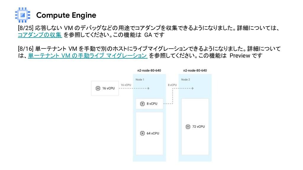 Compute Engine [8/25] 応答しない VM のデバッグなどの用途でコアダンプ...