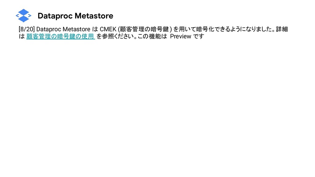 Dataproc Metastore [8/20] Dataproc Metastore は ...