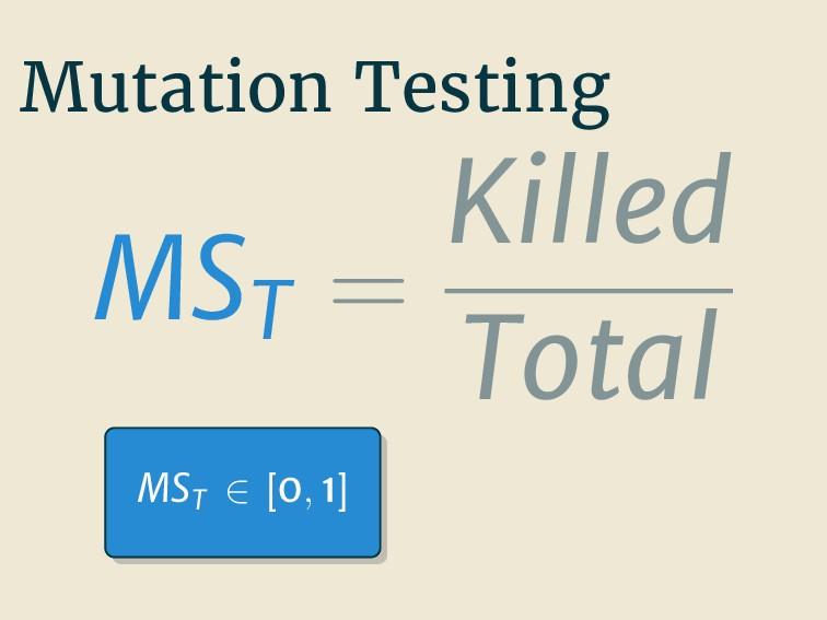 Mutation Testing MST = Killed Total MST ∈ [0, 1]