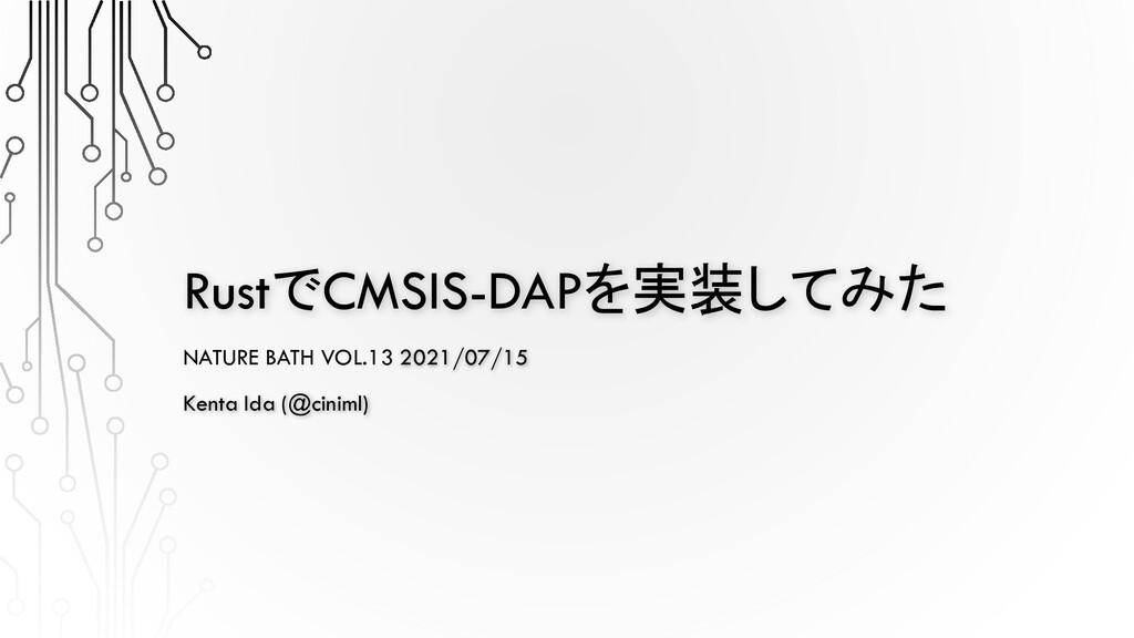 RustでCMSIS-DAPを実装してみた NATURE BATH VOL.13 2021/0...