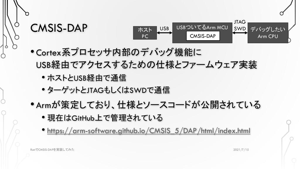 CMSIS-DAP 2021/7/15 Rust CMSIS-DAP で を実装してみた •C...