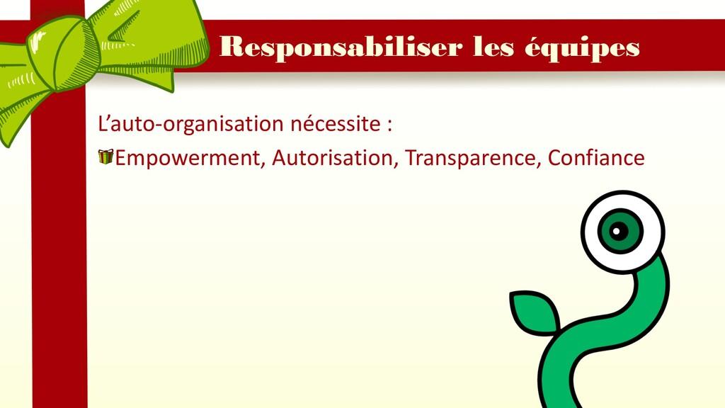 Responsabiliser les équipes L'auto-organisation...