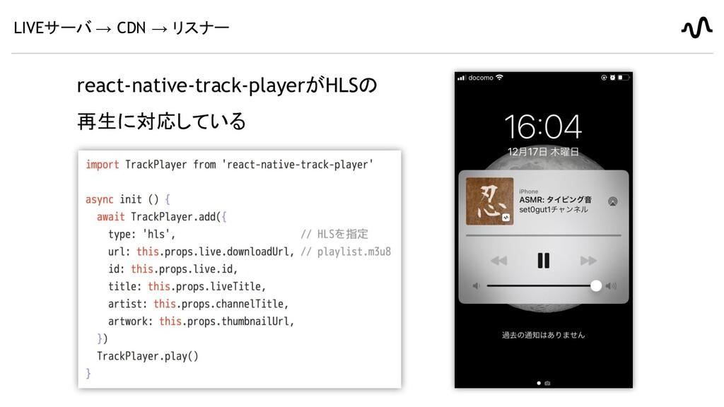 LIVEサーバ → CDN → リスナー react-native-track-playerが...