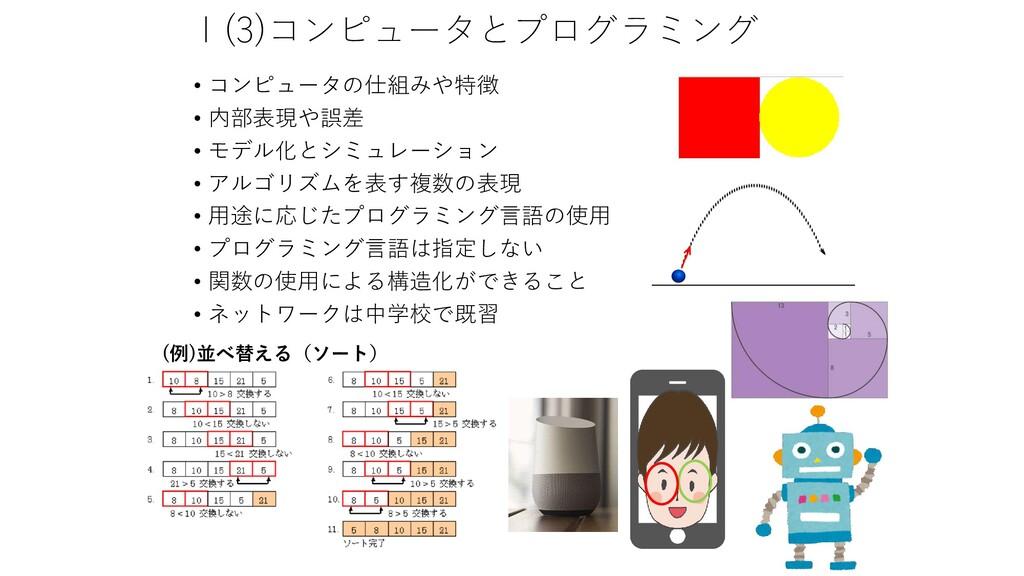 Ⅰ(3)コンピュータとプログラミング • コンピュータの仕組みや特徴 • 内部表現や誤差 • ...