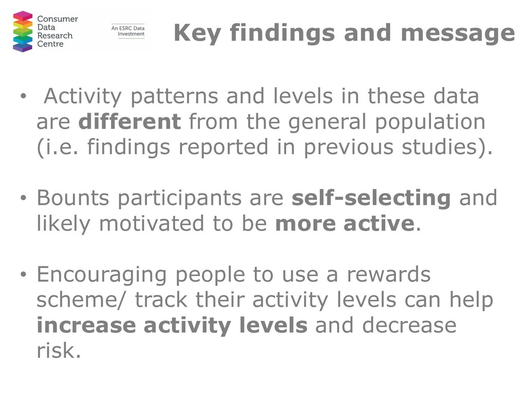 Key findings and message • Activity patterns an...