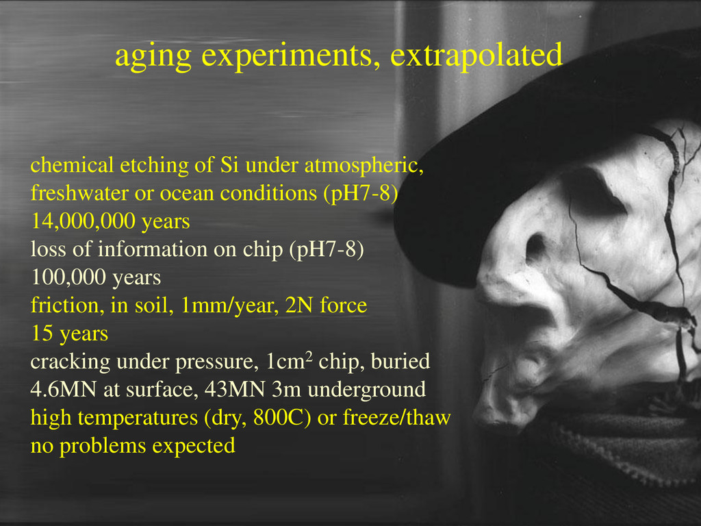 aging experiments, extrapolated chemical etchin...