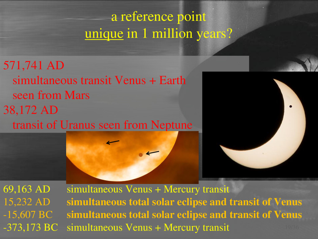 a reference point unique in 1 million years? 19...