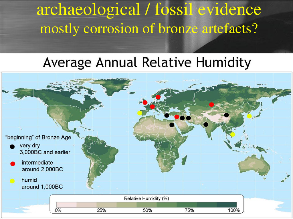 archaeological / fossil evidence mostly corrosi...