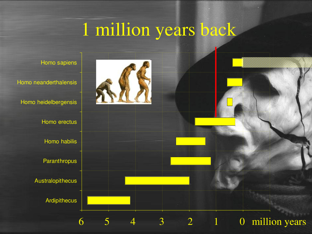 1 million years back 6 5 4 3 2 1 0 Ardipithecus...