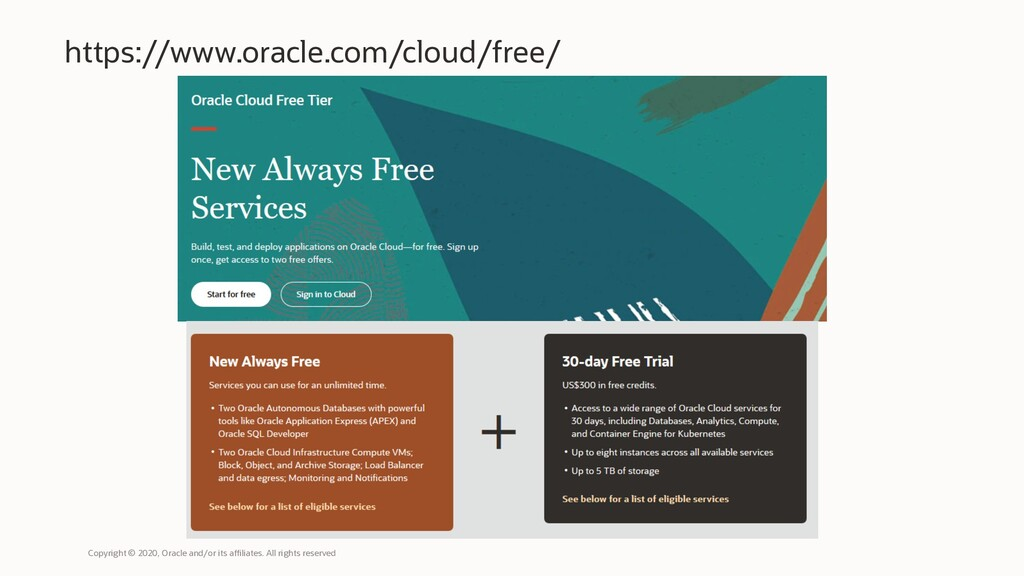 https://www.oracle.com/cloud/free/ Copyright © ...