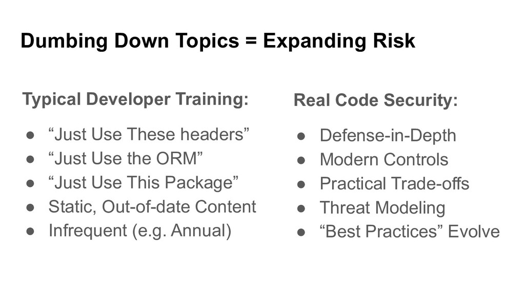 """Typical Developer Training: ● """"Just Use These h..."""