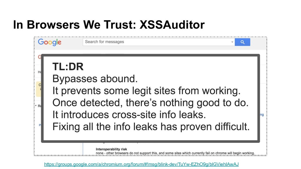 In Browsers We Trust: XSSAuditor https://groups...