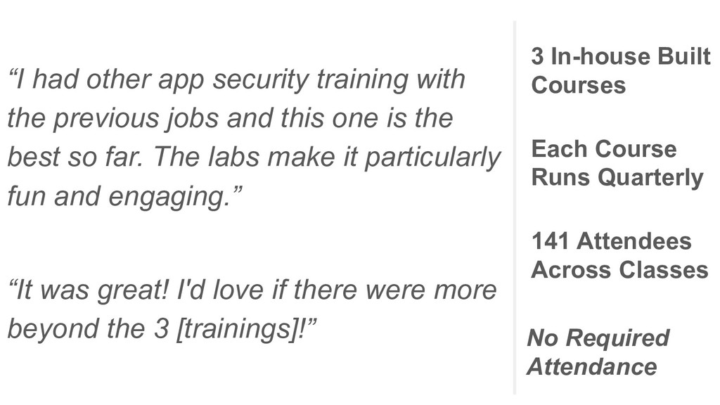 """""""I had other app security training with the pre..."""