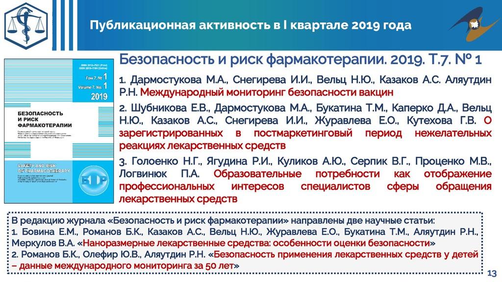 Публикационная активность в I квартале 2019 год...