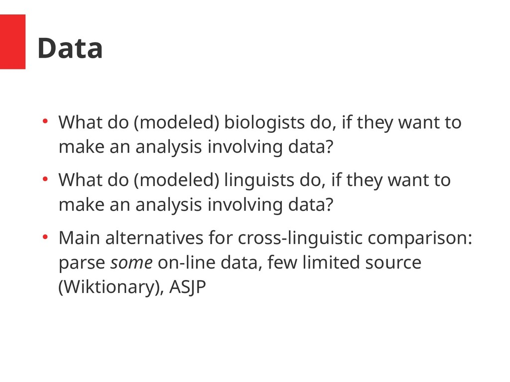 Data ● What do (modeled) biologists do, if they...