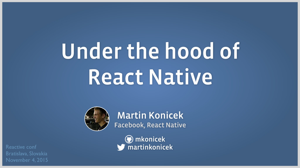 Martin Konicek Facebook, React Native mkonicek ...