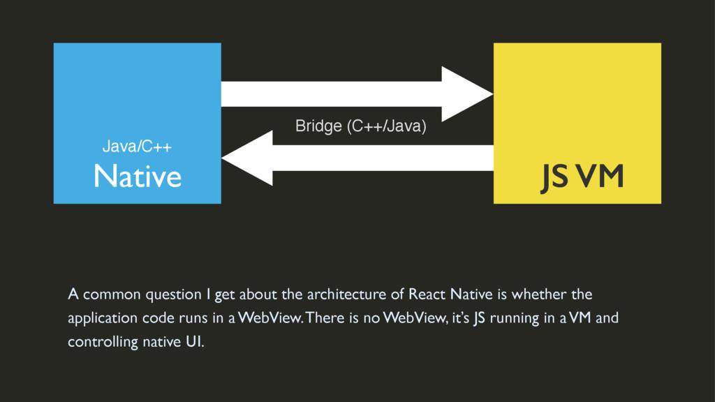 Native JS VM Java/C++ Bridge (C++/Java) A commo...