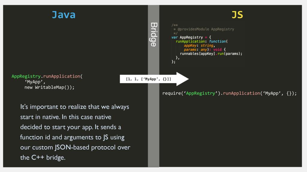 Java JS Bridge AppRegistry.runApplication(  ...